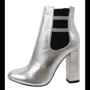 Shoes - Shimmer Silver Elastic Side Block Heel Ankle Boot